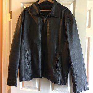 Black leather bomber size xxl